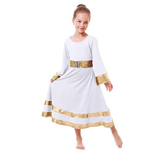 Little Big Girls Metallic Gold Praise Dance Dress with Sequins Waistband Bell Long Sleeve Liturgical Worship Church Dress Loose Fit Full Length Maxi Swing Gown Tunic Circle Skirt Dancewear White 9-10Y
