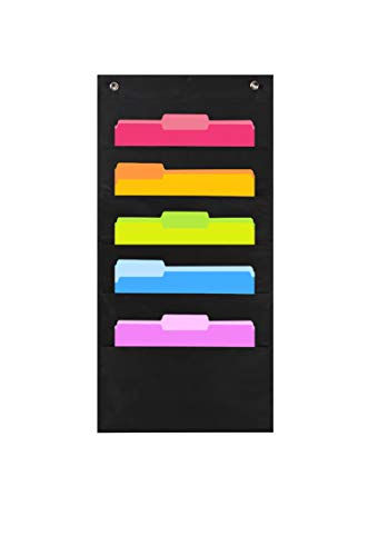 Heavy Duty Storage Pocket Chart with 5 Pockets, 2 Over Door Hangers Included, Hanging Wall File Organizer by Hippo Creation - Organize Your Assignments, Files, Scrapbook Papers & More (Black)