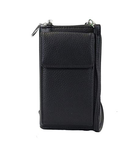 irisaa Damen Handy Umhängetasche Geldbörse RFID Schutz - Crossbody Handtasche Schultertasche Brieftasche mit Handyfach und Verstellbarem Schultergurt, Damen Tasche:Schwarz