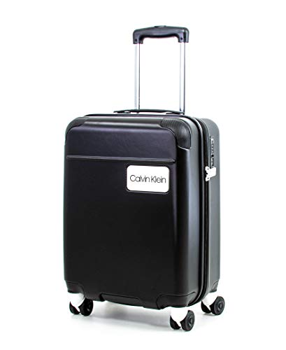 Calvin Klein Casual Hardside Spinner Luggage with TSA Lock, Black