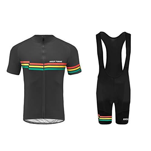 Uglyfrog MTB Body Tuta Ciclismo Completo Bici Uomo Estivo con Maglia e Bib Pantaloncini Corti HIDJ05