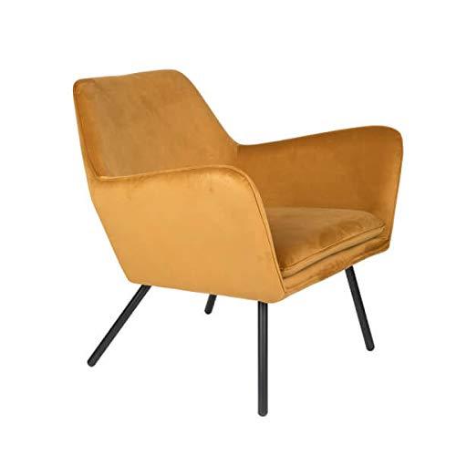 MATHI DESIGN Alabama - Poltrona da salotto confortevole in velluto, colore: giallo oro
