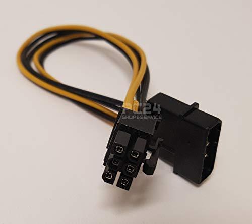 PC24 Shop & Service Adapter 1x 12V Molex Buchse auf 1x 6pin PCIe Stecker | Grafikkartenstromanschlusskabel