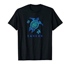 Cancun vacation shirt sea turtle design for those going on a tropical vacation and travelling the world this year. blue ocean sea color type maori design. Island getaway and a luxury holiday trip tshirt in Cancun in a tribal tattoo design and a great...