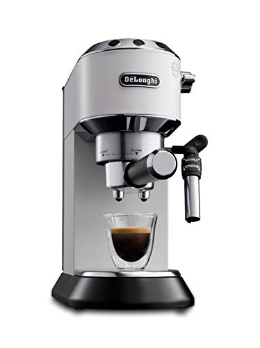 De\'Longhi Dedica Style EC 685.W Espresso Siebträgermaschine, Espressomaschine mit Professioneller Milchschaumdüse, nur 15 cm breit, 1 Liter Wassertank, Vollmetallgehäuse, E.S.E Pads geeignet, weiß