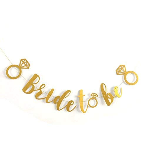 Gold Glitter Engagement Ring Banner Garland Hen Party BannerGold Garland Team Bride Banner Bride to be Banner