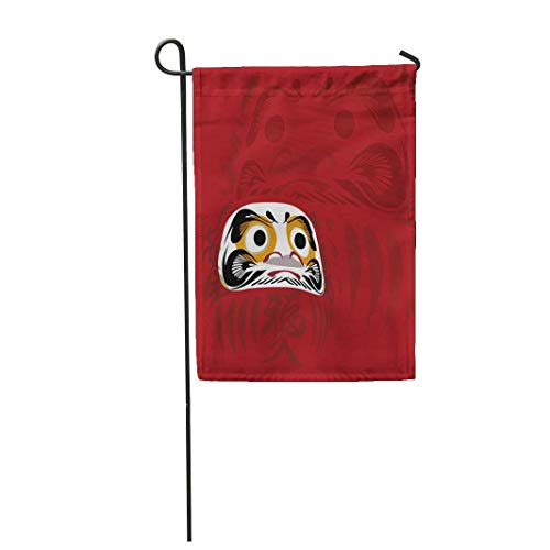 12,5 'x 18' Gartenflagge Daruma Puppe und Rot von Japanisch ist viel Glück Bedeutung Zeichen in Japan Home Outdoor Dekor Doppelseitige wasserdichte Yard Flags Banner für Party