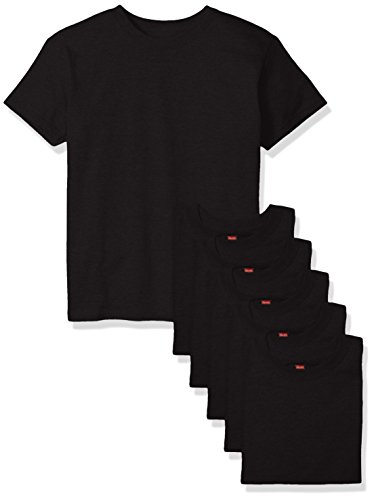 Hanes Big Boys' Comfortsoft T-Shirt (Pack of 6), Black, Large
