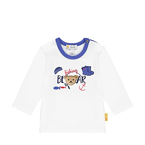 Steiff T-Shirt Langarm Camiseta, Blanco Brillante, 62 cm para Bebés