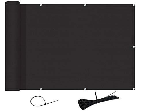AXT SHADE Brise-Vue et Pare-Soleil pour Balcon 90x300cm HDPE- Résistant aux UV,aux déchirures/Noir