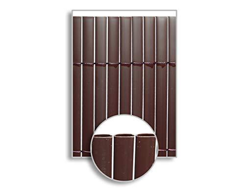 HERSIG - Malla Ocultacion Jardin | Cañizo PVC Marron Oscuro de Doble Cara para Exterior - 100 x 300 cm