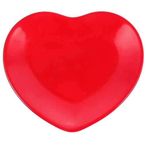 NUOBESTY Plato con forma de corazón con bandeja para servir para San Frutas, postres, decoración de fiestas, color rojo