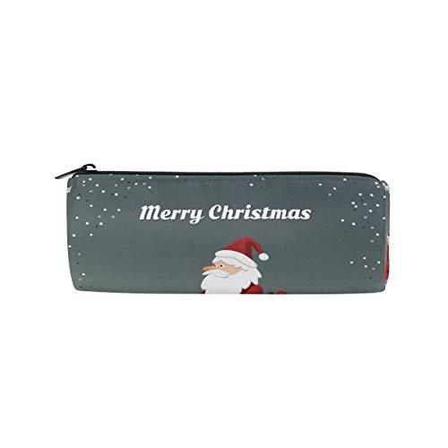 Santa Claus conducción scooter lápiz caso oficina titular lápiz bolsa lápiz lápiz lápiz papelería bolsa cosméticos bolsa