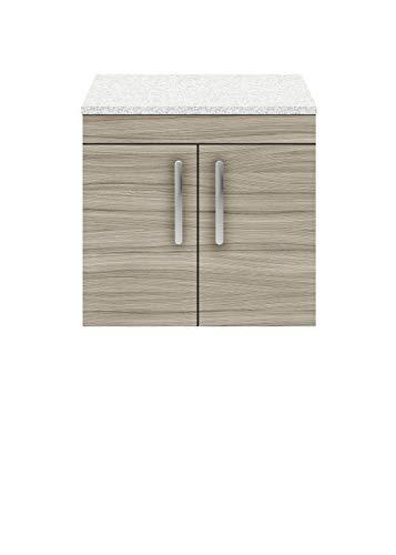 nuie ATH089LSW Athena | Moderner Badezimmer-Waschkommode mit 2 sanft schließenden Türen und funkelnder weißer Arbeitsplatte, 600 mm, Treibholz