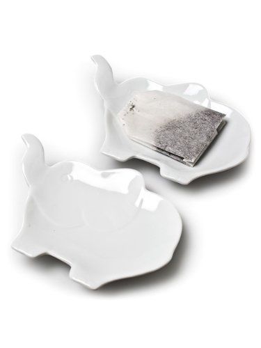 Set 6 Pieces White Porcelain Figural Elephants Teabag Tea Bag Holder Plate Dish