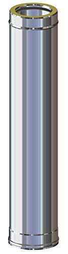 Canna Fumaria - Tubo in acciaio inox 1 metro AISI 316L coibentato resistenza fino a 600°C per stufe camini caldaie e forni a legna pellet gas gasolio. MADE IN ITALY (1000 mm) (ø 80 int. / 130 est.)