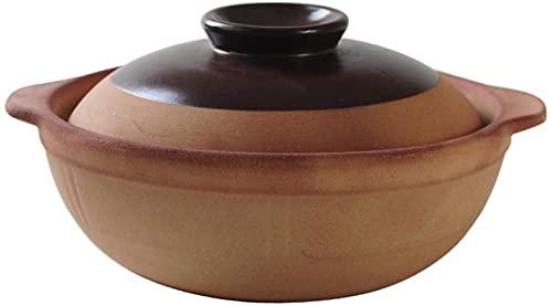 qwert Ton Casserole Pot Ton Kochtopf - Sand Casserole Suppentopf Mit Deckel Tongefäß Reis Haushalt Hochtemperatur-Suppentopf Für Zuhause,1.4L