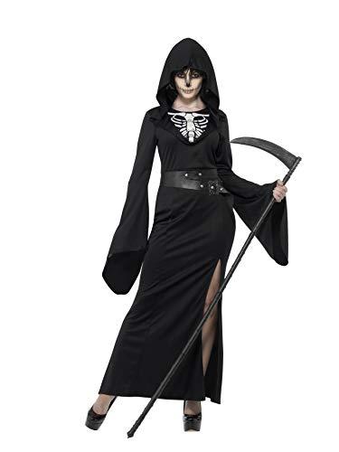 Smiffys Disfraz de Dama de la guadaña, Negro, con Vestido y cinturón