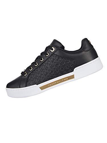 Tommy Hilfiger Damen Th Monogram Elevated Sneaker, Schwarz, 37 EU