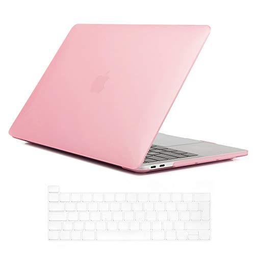 Se7enline Funda rígida de plástico esmerilado para MacBook Pro de 13 pulgadas, modelo A2338/A2251/A2289 con Touch Bar Touch ID con teclado de color rosa