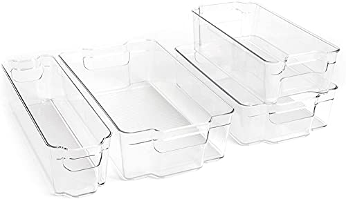 Dial Industries, Inc. Refrigerator Drawer Organizer Bins, Set of 4, Assorted Sizes