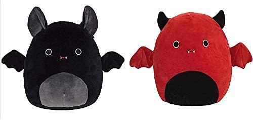 MIHTAO Juguete de peluche de murciélago, juguetes de animales de peluche, lindo muñeco de murciélago gordo de Plushies, regalo de fiesta de decoración navideña, negro y rojo