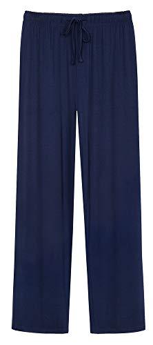 WiWi Men's Bamboo Knit Sleep Pants Lightweight Pajamas Bottoms Lounge Pant with Pockets Plus Size Loungewear S-4X, Navy, X-Large