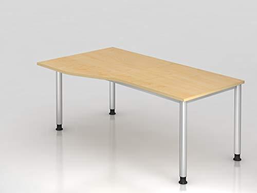 Schreibtisch 4Fuß rd 180x100 80cm Ahorn Silb Bürotisch EDV Tisch