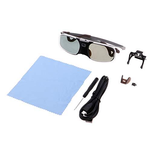 Almencla DLP Link 3D Glasses, 96-144Hz Rechargeable Active Shutter Eyewear for Most DLP-Link 3D Projectors RX-30 Transparent