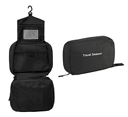Trousse de Toilette avec Crochet de Suspension, Trousse de Toilette Hydrofuge pour Trousse de Toilette (Black)