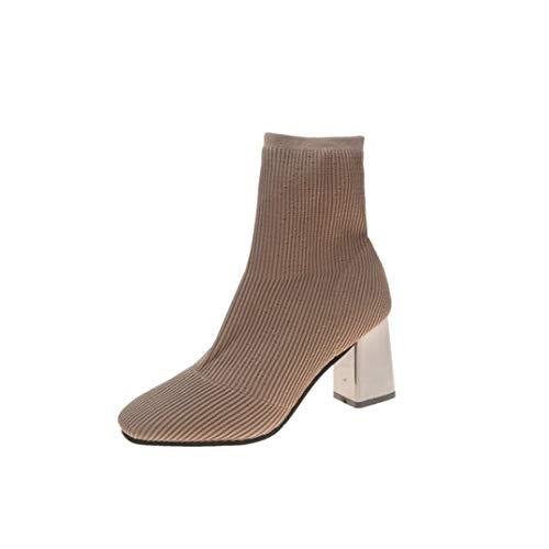 Botines de mujer Tacón cuadrado sin cordones Bota de calcetines de color caqui negro Punta puntiaguda Algodón Primavera Verano Fiesta Botines casuales
