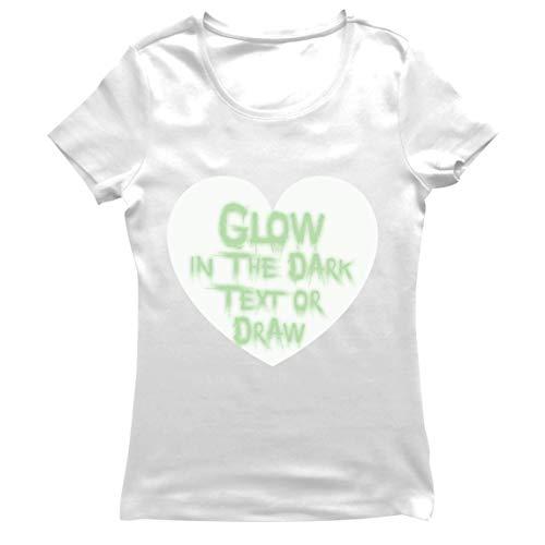 lepni.me Camiseta Mujer Neón Interactivo Ropa para Fiesta de Cumpleaños de San Valentín Que Brilla en la Oscuridad, Dibujada con Led (XL Blanco Glow in The Dark)