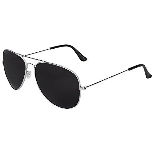 Opticalskart Gafas de sol de aviador de plástico plateado y negro