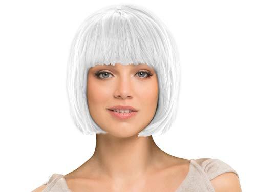 Alsino Kurzhaar Fasching Perücke glatt als Bob Haarschnitt (kurz weiß)