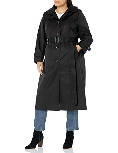 London Fog (LONAG) Women's Plus Size Single Breasted Long Trench Coat with Belt, Black, 3X