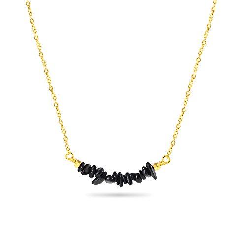 Cheerslife Collar Colgante de Piedras Preciosas - Collar Turmalina Negra Cristal de Cuarzo Naturales de curacion para Mujeres 18 Inches, Or