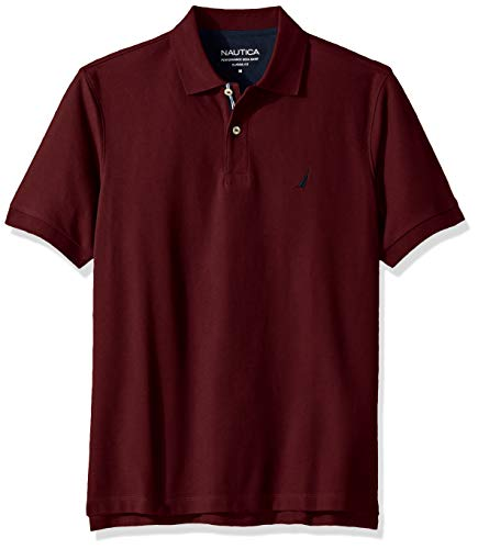 Nautica Men's Classic Short Sleeve Solid Polo Shirt, Royal Burgundy Large