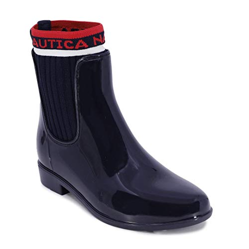 Nautica Ladies Windsail Womens Low Shaft Ankle/Mid Calf Gore Bootie Waterproof Rain Boot with Sweater Side-Navy-Loytan-7