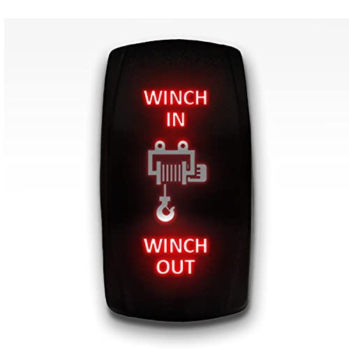 Winch in Winch Out - Red - STARK 7-PIN Momentary Winch in Out Rocker Toggle Switch Waterproof Black Shell/ON-Off-ON DPDT Illuminated Rocker Switch for Auto Truck Boat Marine- DC 20A 12V/10A 24V