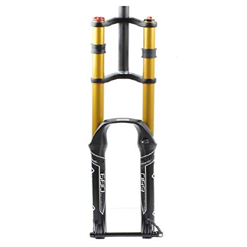 LSRRYD Horquilla para Bicicleta DH Horquilla Bicicleta 26 27,5 29 Pulgadas MTB Horquilla Suspensión Bicicleta Ultraligero Eje Pasante 15mm Viaje 135mm (Color : A-Gold, Size : 26in)