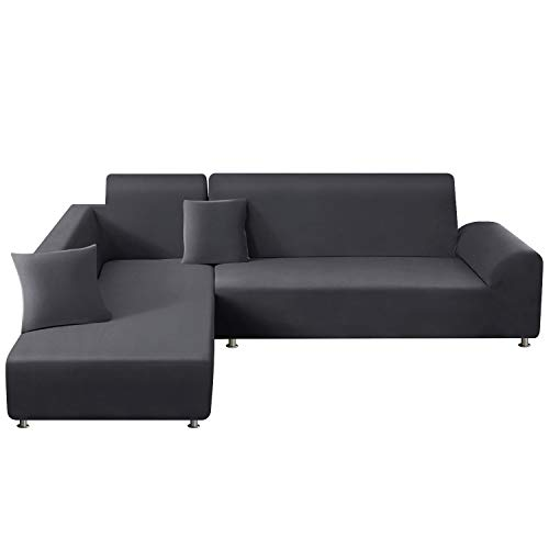 TAOCOCO Sectional Couch Covers 2pcs L-Shaped Sofa Covers Softness Furniture Slipcovers with 2pcs Pillowcases L-Type Polyester Fabric Stretch Couch Covers 3 Seater + 3 Seater