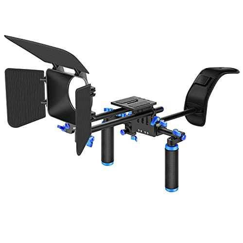 Neewer Camera Shoulder Rig, Video Film Making System Kit for DSLR Camera and Camcorder with Shoulder Mount, 15mm Rod, Handgrip and Matte Box,...