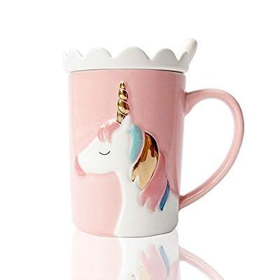 Tazas Lindas Taza de cerámica con Unicornio Taza de café Divertida Personalizado Único Leche Tazas de té con Tapa de Encaje y Cuchara para niños, Mujer, Muchachas (Rosado)