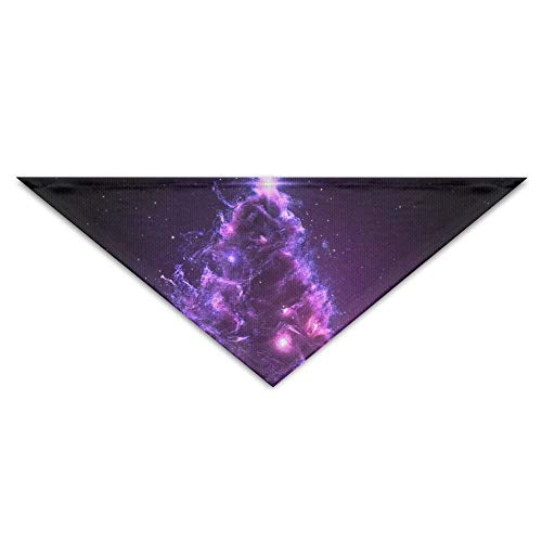 Gxdchfj 3D Christmas Tree Nebula In Space Pet Dog Cat Puppy Bandana Triangle Head Scarfs Accessories