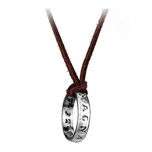 NorCWulT Plata Plateado, Collar de Cuero Cable de Nathan Drake Collar de Cadena Larga Hombres Accesorios