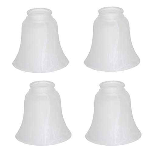 XIDING Clear Hammered Style Bell Glass Shade, Lighting Replacement Glass Shade Standard 2-1/8' Fitter Size, Perfect DIY Glass Accessories, Pack of 4