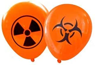 Nerdy Words Halloween Radioactive and Biohazard Latex Balloons (16 pcs) (Orange)