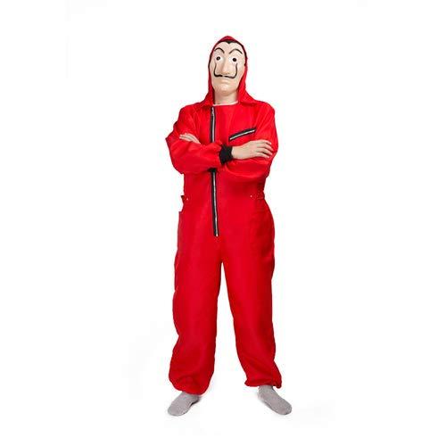 Tomlyws Haus des Geldes Kostüm Staffel 4 Bankräuber Overall rot Cosplay Set mit Dali Maske Fasching Karneval Kostüm Damen Herren Halloween Party Outfit XL