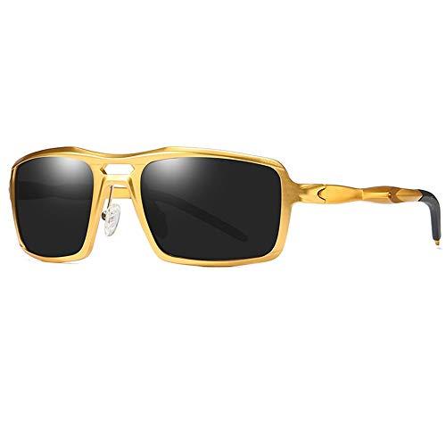 QCSMegy Gafas de Sol Nuevas Gafas de Sol polarizadas de Aluminio y magnesio Deportivas for Hombre Gafas de Moda con protección UV400 Marco Dorado Gris Lente
