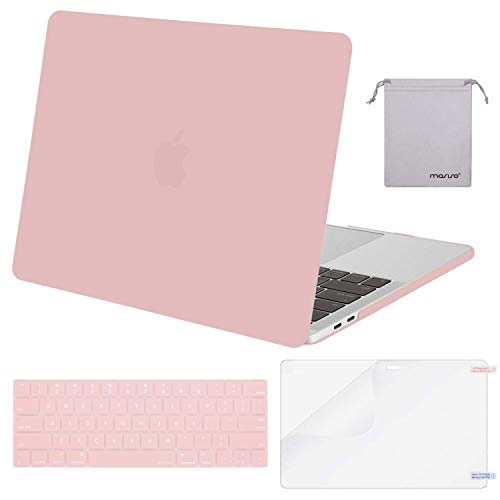 MOSISO MacBook Pro 13 inch Case 2019 2018 2017 2016 Release A2159 A1989 A1706 A1708, Plastic Hard Shell &Keyboard Cover &Screen Protector &Storage Bag Compatible with MacBook Pro 13, Rose Quartz